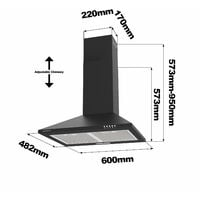 CIARRA 201BK60 Cooker Hood 60cm with 2pcs Carbon Filters 370m3/h Stainless Steel Class A Chimney Hood BLACK - Black