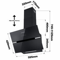 CIARRA 650 m3/h 60cm Glass Angled Cooker Hood With Touch Control-CD6736HB - Black