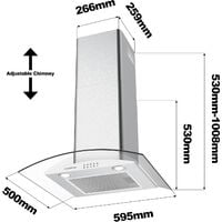 CIARRA 650 m3/h 60CM Cooker Hood 1pc Carbon Filter Class A Stainless Steel Glass Extractor Hood- 506SS60 - Stainless Steel