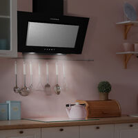 CIARRA 60cm Angled Wall Mounted Cooker Hood with 3-speed Extraction-CD6736DB - Stainless Steel