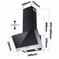CIARRA 60cm Angled Cooker Hood with 3-speed Extraction-736CBK60 - Black