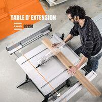 TACKLIFE Scie sur Table, Scie à Table 2000W, 4800rpm, Lame de Scie 254 × 30 × 2.8mm (24T), Extension de Table de Scie Circulaire,92 × 64.3cm Table de Travail-MTS01A