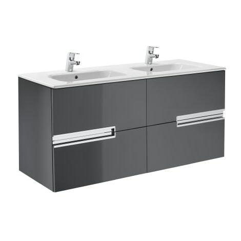 Roca-8414329937442 Roca - Unik (mueble base y lavabo doble) - 120 cm, Serie Victoria-N , Color Gris antracita