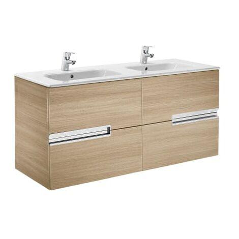 Roca-8414329937435 Roca - Unik (mueble base y lavabo doble) - 120 cm, Serie Victoria-N , Color Roble texturizado