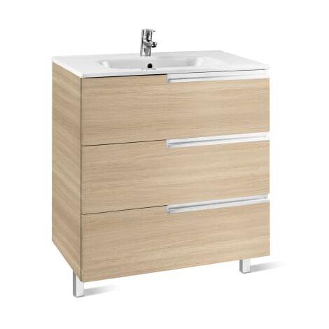 Roca-8433291106977 Roca - Unik Family (mueble base y lavabo) - 90 cm, Serie Victoria-N , Color Roble texturizado