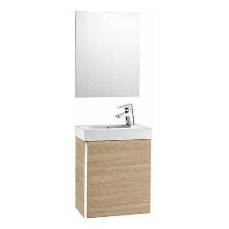 8414329939286 Roca - Pack con espejo (mueble base lavabo y espejo) - Serie Mini , Color Roble texturizado