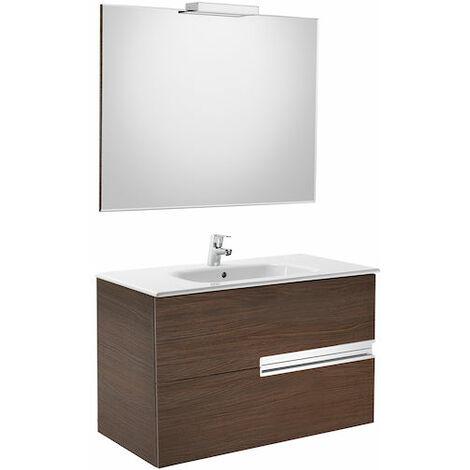 8414329937305 Roca - Pack (mueble base lavabo espejo y aplique) - 80 cm, Serie Victoria-N , Color Roble texturizado