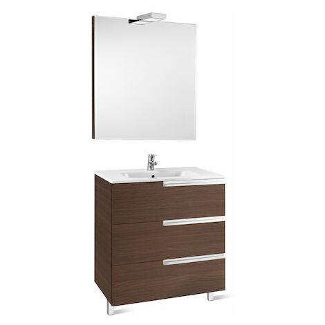 8414329938258 Roca - Pack Family (mueble base lavabo espejo y aplique) - 80 cm, Serie Victoria-N , Color Roble texturizado