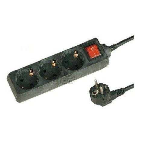 Base multiple noire avec 3 fiches et interrupteur 1,5 m de câble GSC 0000025