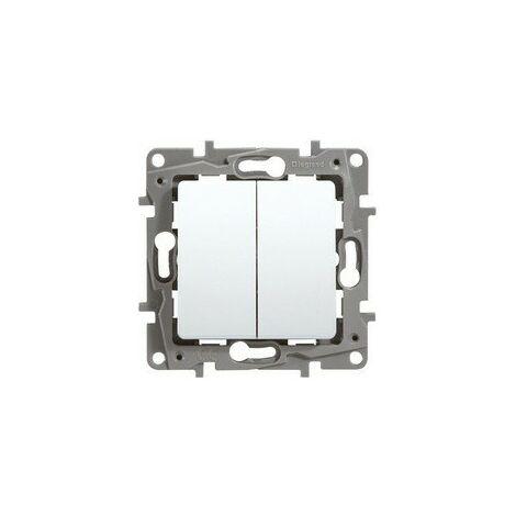 Interrupteur double 1p 10a blanc LEGRAND NILOÉ 664702