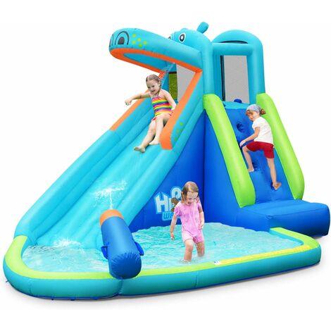 GOPLUS Ch?teau Gonflable en Motif Hippopotame avec Toboggan Aquatique,Mur d'Escalade et Piscine,Aire de Jeu pour 3 Enfants de 3 à 10 Ans,Jusqu'à 90 kg,350x300x225CM(Gonfleur Non-Inclus)