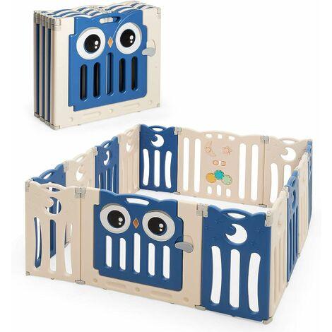 GOPLUS Parc Bébé en Plastique Pliable et ?cologique avec Motif de Hibou et Panneau de Jeu, Parc pour Enfant avec Porte et Serrure de Sécurité, Convient aux Bébés Moins de 3 Mois à 6 Ans (Bleu)
