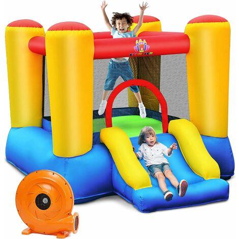 GOPLUS Ch?teau Gonflable pour Enfants avec Toboggan, Espace de Saut, Aire de Saut avec Sac de Transport, 4 Piquets ,1 Kit de Réparation pour Enfants 3-5 Ans, Pompe Air Incluse (Modèle A)