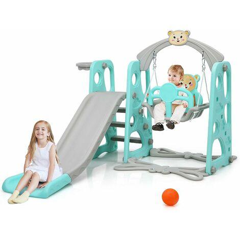 GOPLUS Toboggan pour Enfants, Aire de Jeux 3 en 1 Toboggan avec ?chelle, Panier de Basket (Balle Comprise) et Balan?oire, à l'Extérieur et à l'Intérieur, pour Enfants 1-6 Ans (Vert)