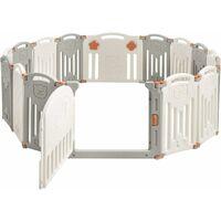 GOPLUS 16 Pcs Parc Bébé Pliable avec Motif d'Ours, avec Panneau de Jeu, Porte et Serrure de Sécurité, Combinable en Différentes Formes, Convient aux Bébés 3 Mois à 6 Ans, Gris et Beige