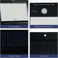 GOPLUS Lot de 4 Lampes Solaire Extérieur Murale avec 30 LED 3-5M d'Induction sans Fils pour Jardin,Garage,Balcon,Porte d'Entrée 96 x 48 x 124MM