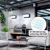 Applique Murale Extérieur Moderne LED 12W Étanche IP65 En Aluminium Anthracite Eclairage Décoration Lumière Pour Cour Jardin Terrasse Proche Mur Pathway Patio Villa Couloir Blanc Froid