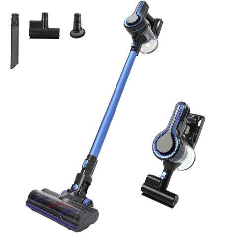 Aspirateur Balai sans Fil sans Sac, 3 en 1 Aspirateur Puissant 18500Pa, 2 Vitesses modurable, Batterie 35min, pour Maison Poils Animaux Voiture Bureau, Bleu - Gris/Bleu
