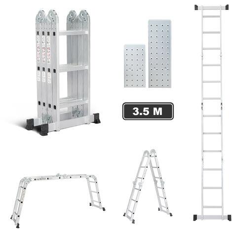 Todeco Echelle Multifonction 3.5m, Échelle Pliante avec 2 Montants, 4x3 Échelle Aluminium Chargeable Jusqu'à 150 kg, Escabeau Télescopique Polyvalente