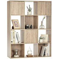Bibliothèque Meuble casier rangement 12 cubes avec 3 portes - Imitation bois hetre - Meuble Séjour/Bureau - 87.6x30x116 cm - Naturel