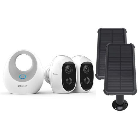 Ezviz - Pack 2 caméras C3A + Base + panneau solaire - Blanc