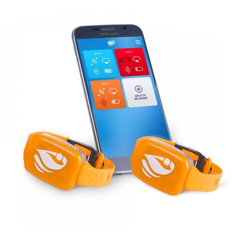 Bracelet de sécurité piscine No stress avec application smartphone  Kit 2 - Orange
