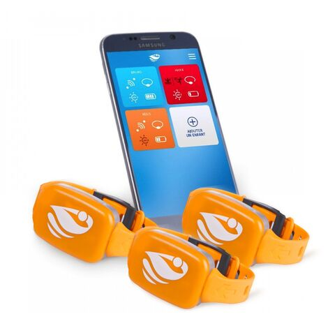 Bracelet de sécurité piscine No stress avec application smartphone  Kit 3 - Orange