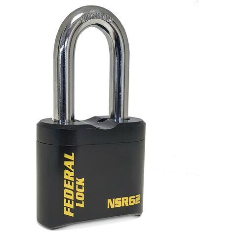 Cadenas à code et anse longue SR62 60mm - Federal Lock - Noir