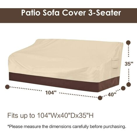 """Heavy duty patio sofa cover, 100% waterproof, 3-seater outdoor sofa cover, lawn patio furniture cover with vents and handles, 79"""" Wx 37"""" Dx 35"""" H, beige and brown d"""