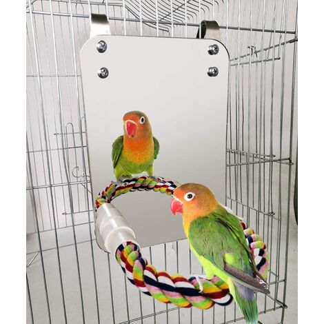 7 inch bird mirror with rope perch parrot mirror cage bird toy swing parrot cage toy parakeet parrot parrot parrot bird canary a