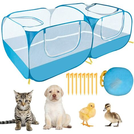 Small animal fence, portable large chicken running cage, with a detachable bottom, breathable transparent mesh wall, foldable pet fence, suitable for indoor and outdoor use for dogs, kittens and rabbits a