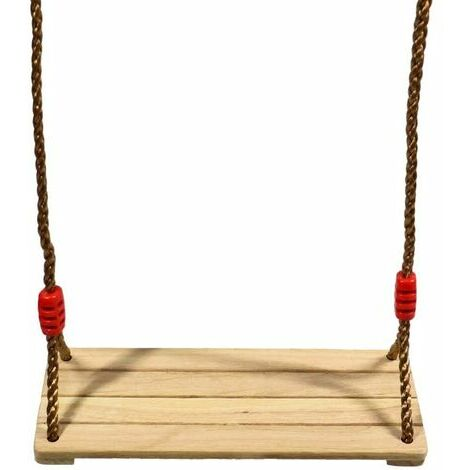 Wooden Swing Swing Children Adults Wooden Swing Seat with Adjustable Ropes for Tree Playground Outdoor Indoor V7110A