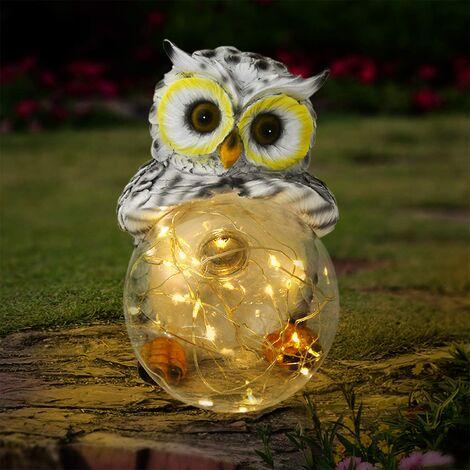 10 Ones Design Garden Owl Figurines Solar Lights Outdoor Decorative   Garden Decor Solar Statue Outdoor Decorations for Patio, Yard, Lawn Ornaments - Garden Gift for Mom's Day, Housewarming, Festival