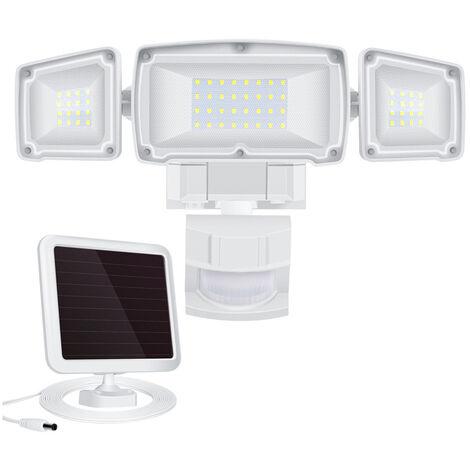 Outdoor Motion Detector Floodlight, Triple LED 3 Angle Adjustable Spotlight IP65 Waterproof Cold White 6500K, Security Light for Corner, Garage, Garden