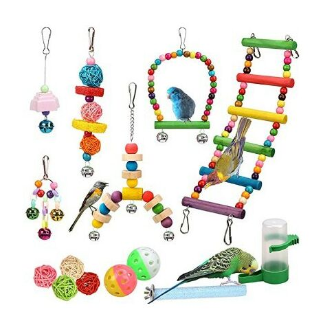 Bird Toys Parrot Bird Toys Swing Birds Toys Bird Chewing Toy Handmade Colorful Parrot Cage Toys For Parakeets Conures Macaws Finches