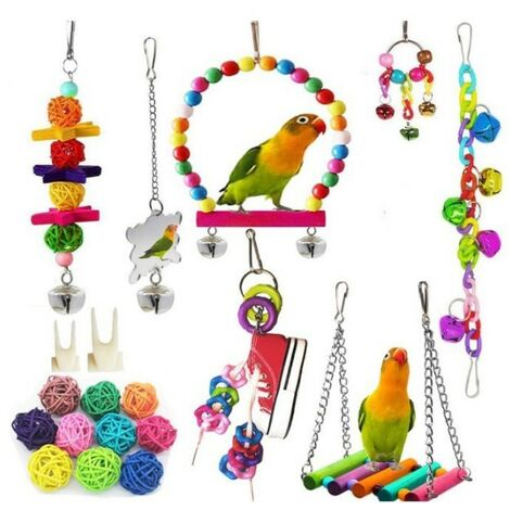 Bird Toys, 19 Pieces Wood Feet Perches, Swings, Ladders, Climbing Perches for Small and Medium Bird Cages, Parrots