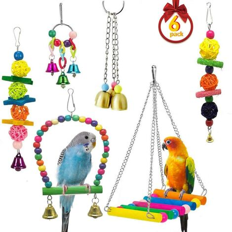 Bird Toys, 6 Pieces Parrot Chew Toys, Parrot Swing Toys, Hanging Bird Cage Toy, for Small Parrots, Macaws, Parakeets, Parakeets and Love Birds