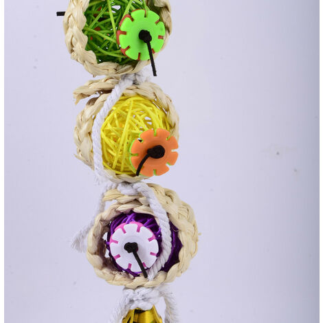 Bird Chew Toys Natural Sepak Takraw with Paper Forager Shredder Toy Parrot Cage Hanging Bell Parrot Toy