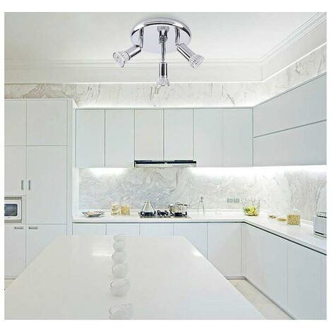 Ceiling Light 3 Adjustable Spotlights Bathroom 9W, LED Adjustable Angle Lighting for Bedroom Living Room Kitchen Corridor,