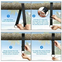 Tree swing hanger straps, tree rope swings, hanging kit with safety carabiners, terylene, fits all swings and hammocks, 5cm * 1.2m