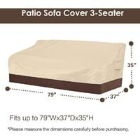 """Heavy duty patio sofa cover, 100% waterproof, 3-seater outdoor sofa cover, lawn patio furniture cover with vents and handles, 79"""" Wx 37"""" Dx 35"""" H, beige and brown e"""