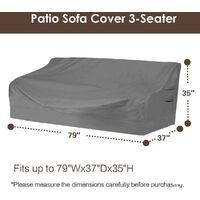 """Heavy duty patio sofa cover, 100% waterproof, 3-seater outdoor sofa cover, lawn patio furniture cover with vents and handles, 79"""" Wx 37"""" Dx 35"""" H, beige and brown"""