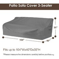 """Heavy duty patio sofa cover, 100% waterproof, 3-seater outdoor sofa cover, lawn patio furniture cover with vents and handles, 79"""" Wx 37"""" Dx 35"""" H, beige and brown j"""