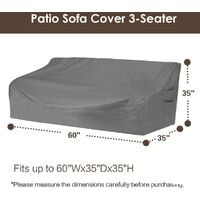 """Heavy duty patio sofa cover, 100% waterproof, 3-seater outdoor sofa cover, lawn patio furniture cover with vents and handles, 79"""" Wx 37"""" Dx 35"""" H, beige and brown h"""