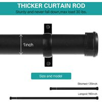 """Room divider curtain rods, suitable for Windows 120 to 160"""" curtain rods with round caps, suitable for Windows 66"""" to 144"""" heavy ceiling-mounted curtain rods, with brackets, outdoor curtain rods for terraces, black"""