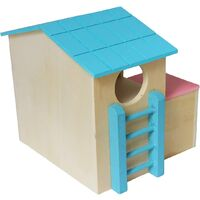 Pets and small animals hide in Hamster House Luxury two-story wooden cabin with fun climbing slides to play with toys and chew