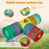 Bunny tunnel and pipe collapsible 3-way rabbit hideout small animal activity tunnel toy suitable for dwarf rabbit rabbit guinea pig kitten