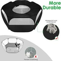 Small animal fence, breathable transparent pet tent with top cover automatically opens indoor and outdoor sports foldable fence, suitable for kittens, puppies, guinea pigs, rabbits, hamsters and hedgehogs