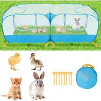 Small animal fence, portable large chicken running cage, foldable bottomless pet cage tent with breathable transparent mesh wall, with 4 zipper doors, suitable for puppy, kitten, rabbit outdoor yard