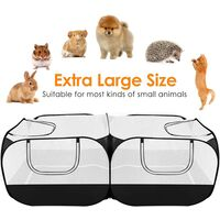 Small animal fence, portable large chicken running cage, with a detachable bottom, breathable transparent mesh wall, foldable pet fence, suitable for indoor and outdoor use for dogs, kittens and rabbits.
